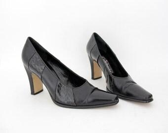 Vintage shoes / Calidonia Italian black leather pointy toe heels / size 38-7.5