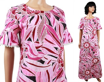 SALE! 70s Hawaiian Dress S Vintage Long Pink White Floral Cotton Barkcloth Bell Sleeve Free US Shipping