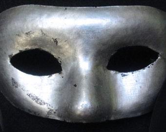 Argentone Mask silver leafed paper mache masquerade mask