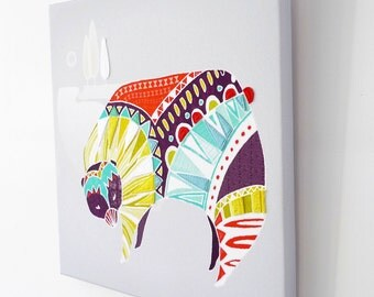 Nursery Art, Office Art, Animal Wall Art, Bear Canvas Print Bright Colorful Framed illustration, Nursery, childrens baby babies room BCWA01