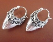 Balinese Sterling Silver Traditional Style Hoop Earrings / silver 925 / Bali Handmade Granulation Jewelry