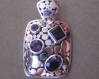 Balinese sterling Silver Amethyst gems pendant /  silver 925 / Bali handmade jewelry.