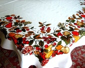 RETRO Vintage Print TABLECLOTH Cotton Smooth Sailcloth Colorful Country Fruit