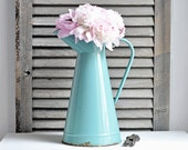 RESERVED rustic antique french enamelware pitcher