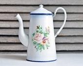 vintage french enamelware coffee pot - rose floral pattern