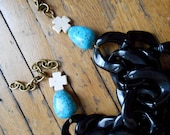 Black Chain Necklace with Turquoise and Cross