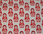 Japanese Import Cream Natural Matryoshka Russian Doll Canvas Fabric 1/2 yard Half Yd Kawaii Out of Print Japan Retro Boutique Fairytale