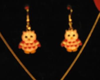 Owl Love Pierced Earrings