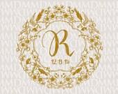 Asian Birds and Blossoms Custom Wedding Monogram - Wedding Logo - Wedding Crest