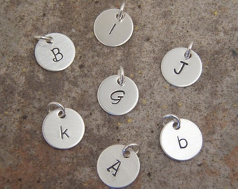 """Silver Initial charm add ons - ONE initial charm letter of your choice - Dainty, 3/8"""" Sterling silver charm - Photo NOT actual size"""