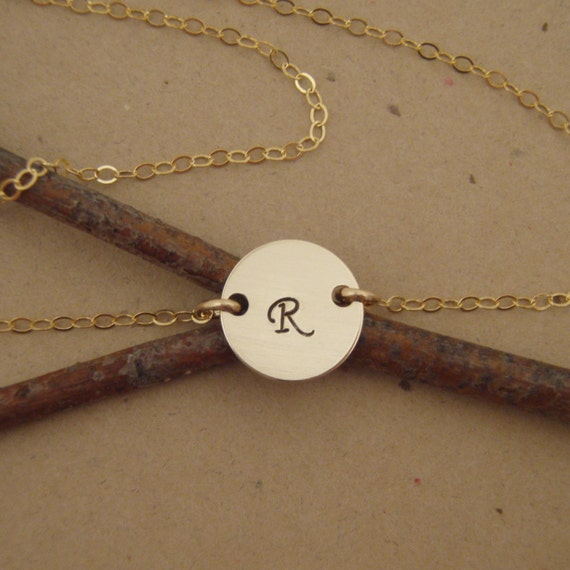 Gold Disc Initial Necklace - Small Choker Initial Necklace - Dainty Gold Necklace - Photo NOT actual size