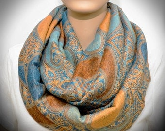 Infinity scarf - Orange Blue Paisley scarf