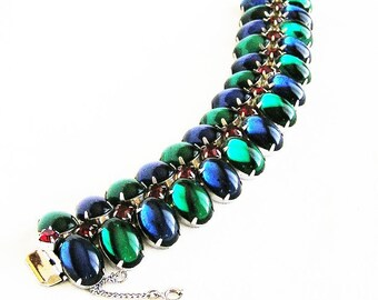 Blue and Green Glass Cabochon Bracelet with Rhinestone Accents