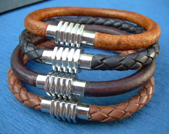 Mens Leather Bracelet, Stainless Steel Magnetic Clasp, Leather Bracelet, Mens Bracelet, Mens Jewelry, Leather Jewelry, Mens Gift, Leather