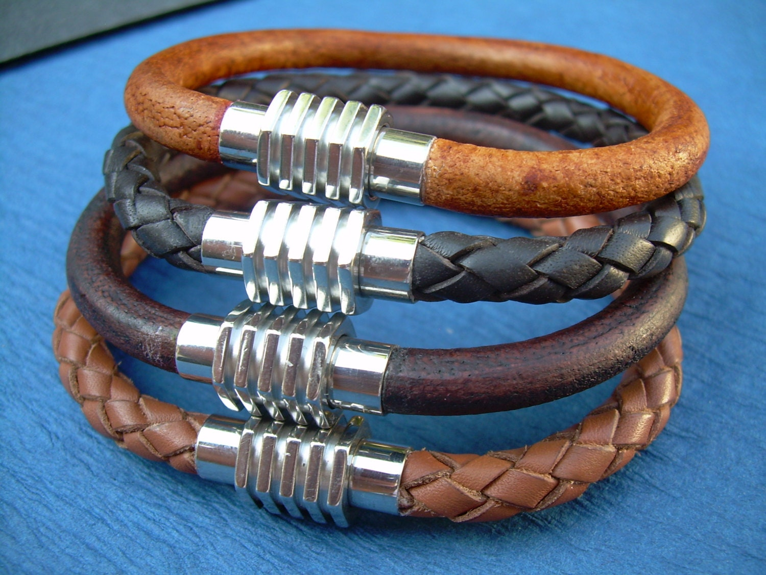 Mens Leather Bracelet Stainless Steel Magnetic Clasp Leather