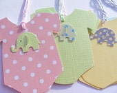 Baby Onesie Gift Tags - Baby Shower Gift Tags - Onesie Wish Tags - Elephant Gift Tags - Baby Gift Tags - Polka dot Gift Tags - BOGT