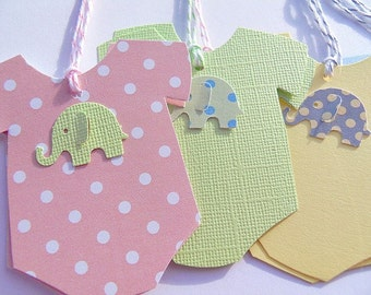 Beautiful Baby Onesie Gift Tags   Baby Shower Gift Tags   Onesie Wish Tags   Elephant  Gift