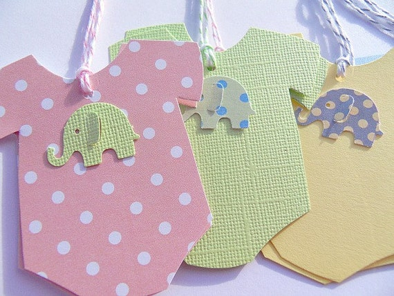 Baby Gift Labels : Baby onesie gift tags shower wish