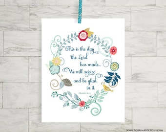 "Inspirational Scripture Art Print - ""This is the day"" - home decor, nursery, kids room, family rules"