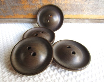 Vintage Brown Chunky Large Buttons Set of 5