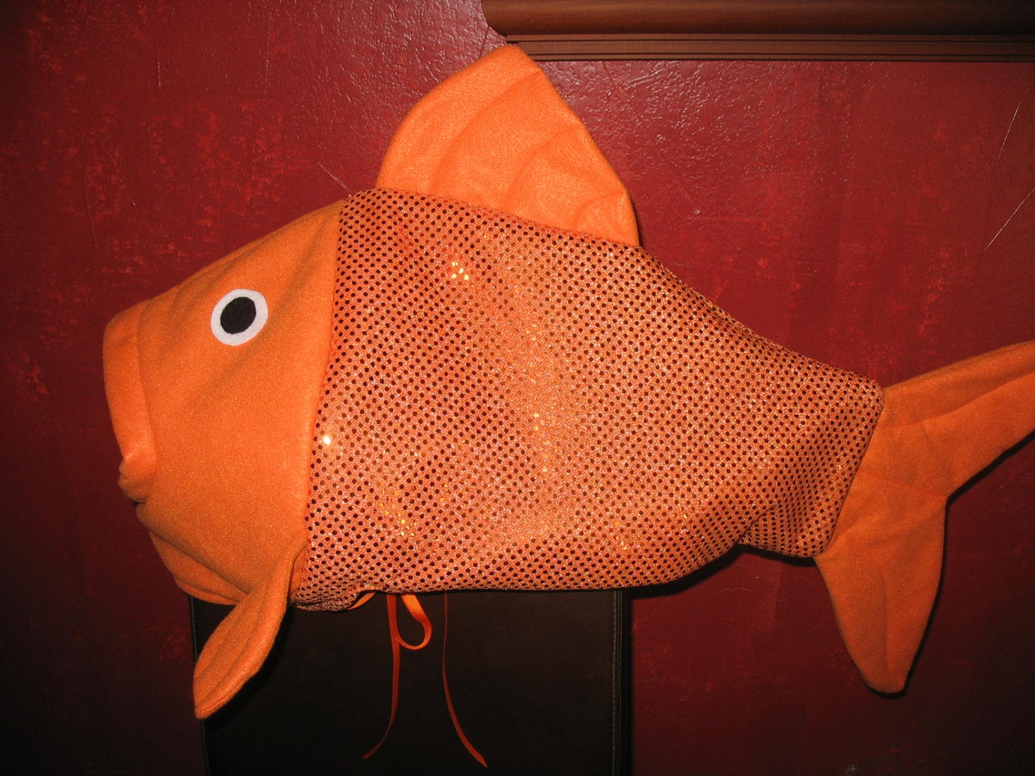 Orange sequin fish costume one size fits all by lauriesgift for Fish head costume