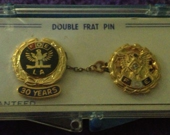 SALE Vintage Double Fraternal Order Pin FOE Eagles 30 Years Made USA
