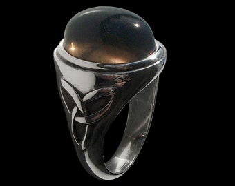 925 Solid Sterling Silver Pagan Triquetra Ring with Smoky Quartz -  -  ALL SIZES