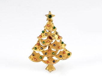 Gold Christmas Tree Pin Gerry's Signed Holiday Brooch Signed Designer Vintage - W2819