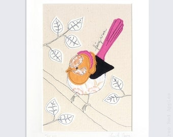 Fairy Wren - Personalised Mounted Embroidery - orange, black and neon pink - 14x11