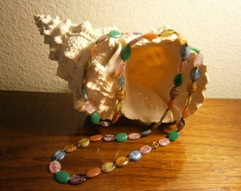 Vintage ART DECO RAINBOW Agate Stone Necklace