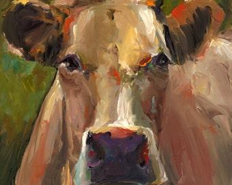 Cow Painting - Natasha  - Print of an Original Acrylic Painting by Cari Humphry