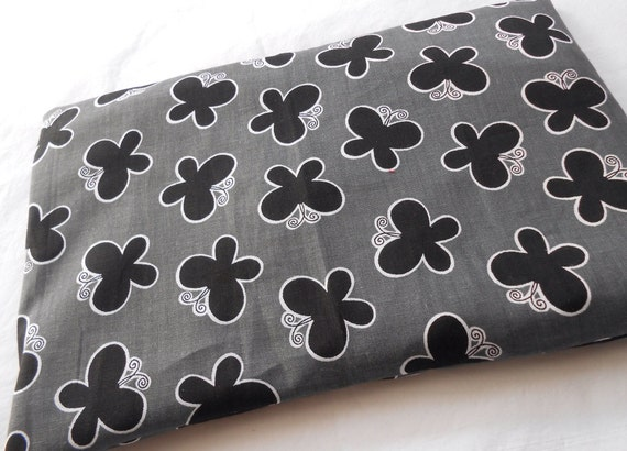 Microwaveable Heat Pack Cold Pack 11x8 Gray Black Butterfly