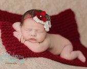 Baby Knit Mini Blanket Afghan - Red