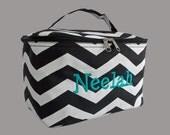 Cosmetic Train Case Personalized Black and White Chevron Print-Zigzag Print