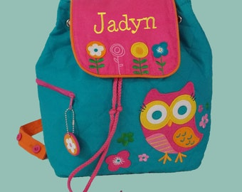 Personalized Stephen Joseph OWL Backpack in Teal and Hot Pink-Monogramming Included