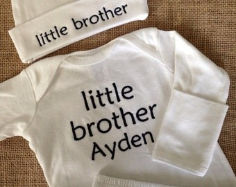 personalized set, perfect little BROTHER COMING HOME outfit or gift