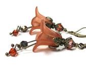 Orange Flower Earrings, Burnt Orange Dangle Floral Earrings, Fashion Jewelry, Feminine Earrings, Botanical Gifts for Gardeners, Boho Chic