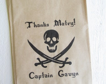 "25 Custom Pirate Birthday Favor Bags Jolly Roger 5""x7.5"""