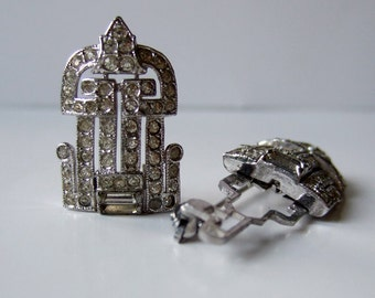 1940s Rhinestone Duette Brooch Dress Clips Art Deco Silver Cocktail Party Wedding Hollywood Glamour