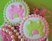 Preppy Pink and Green Frog Decorated Sugar Cookies