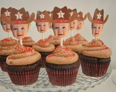 DIY Cowboy Photo Cupcake Toppers (Digital File)