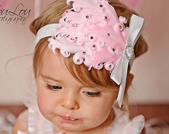 PINK DREAM Gorgeous Swarovski Crystal Feather Headband with Rhinestone Satin Bow