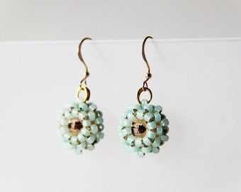 14K Gold Filled Ear Wires. Peach and Mint - Peach Swarovski Elements Round Stones Crystals and Mint Japanese Seed Beads