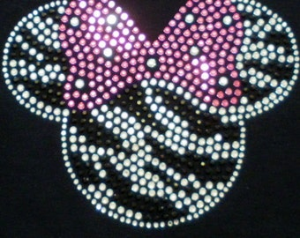 6.75 inch zebra Minnie Mouse iron on rhinestone transfer in PINK/clear for shirt