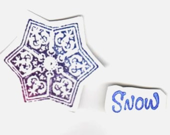 Snow & Snowflake - Lot of 2 New UM Stamps - Domino Art - Shrines - ATC - Collage - Cardmaking - Mixed Media - Domino Art - FREE Shipping