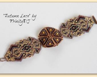 BP-BR-006 - Autumn Lace - Brick Stitch Bracelet Pattern, seed bead jewelry, beadweaving tutorial, beaded bracelet, beadwork, cuff tutorial
