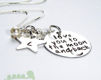 Love you to the moon and back necklace - Personalized necklace - Mother jewelry - Hand stamped mommy necklace-   with star initial charm