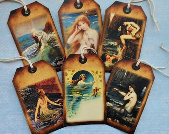 RESERVED LISTING  for Judy- Mermaid TAGS- one image only- One set of small, Two sets of large