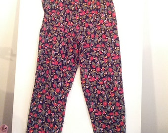 80s floral stirrup pant corduroy flowers hippie 90s 80s saved by the bell grunge boho