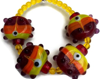Fish bracelet for toddlers little girls kids stretch red yellow orange